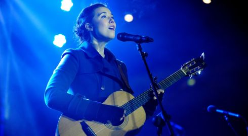 Lisa Hannigan picutred singing at the Stars Choirs and Carols Guinnes book of records attempt at Croke Park. Photograph: Aidan Crawley