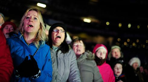 Singers at the Stars Choirs and Carols Guinnes book of records attempt in Croke Park. Photograph: Aidan Crawley