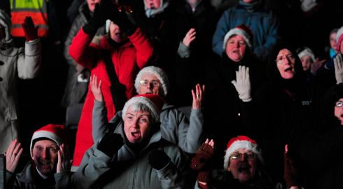 Members of the Dublin Deaf Choir picutred singing at the Stars Choirs and Carols Guinnes book of records attempt  in Croke Park. Photograph: Aidan Crawley