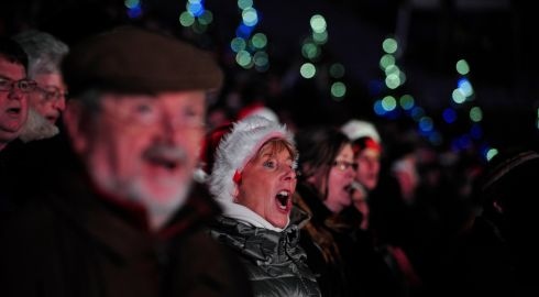 Singers picutred singing at the Stars Choirs and Carols Guinnes book of records attempt atCroke Park. Photograph: Aidan Crawley