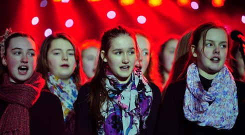 Choir singers pictured singing at the Stars Choirs and Carols Guinnes book of records attempt in Croke Park. Photograph: Aidan Crawley
