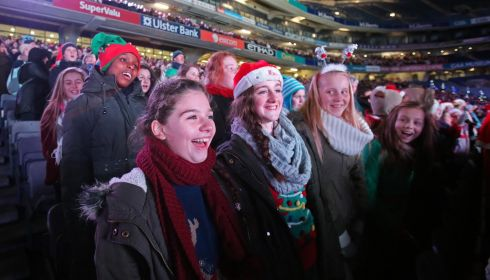 Carol singers at Croke Park for the Stars Choirs and Carols concert. Photograph: Niall Carson/PA Wire