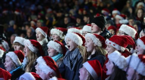 Carol singers at Croke Park for the Stars Choirs and Carols concert in an attempt to break the world record for the most carol singers singing together in aid of Clionas Foundation and The Sanctuary charities. Photograph: Niall Carson/PA Wire