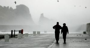 Stormy weather at Howth harbour in Co Dublin. Photograph: Dara Mac Dónaill/The Irish Times