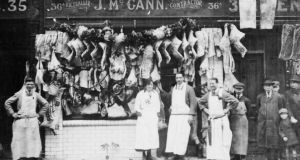 John McCann's butcher shop in Aungier Street, Dublin . . . his grandsons Thomas and James Nolan have just opened a butcher shop in the Merrion Centre in Dublin 4, continuing the family business