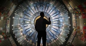A large back-lit image of the Large Hadron Collider at the Science Museum in London. Photograph: Peter MacDiarmid/Getty