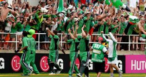 Irish cricketers celebrate with their fans after victory over Pakistan at Sabina Park during the World Cup in March 2007. Photograph: Jewel Samad/AFP/Getty Images