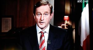 State of the nation: Enda Kenny's television address. Photograph: Dave Meehan