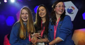 BT Young Scientist winners Emer Hickey, Sophie Healy-Thow and Ciara Judge. Photograph: Aidan Crawley