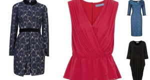 "ARNOTTS (left): Jill Stuart dress, reduced from €315 to €157.50; HARVEY NICHOLS (middle): ruched pink top by Alice & Olivia, was €270, now €135; ELLEN B (top right): Heidi Higgins ""Gabriella"" dress, reduced from €395 to €199; HOUSE OF FRASER (bottom right): crepe dress by Mary Portas, down from €129 to €64.50"