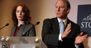 Mr  Richard Haass (right) assisted by Harvard professor Meghan O'Sullivan, speaking to the media at Stormont Hotel in Belfast, where he is chairing negotiations dealing with contentious flags, parades and the North's troubled past. Photograph: Paul Faith/PA Wire