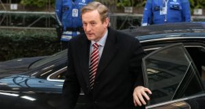 Taoiseach Enda Kenny arrives for the second day of the European heads of states summit at the European Council headquarters in Brussels yesterday. Photograph: EPA/Julien Warnand