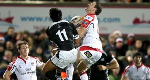 Ulster's Paddy Wallace and Alberto Chillon of Zebre during last night's game. Photograph: Morgan Treacy/Inpho