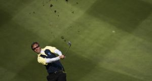 Nicolas Colsaerts plays a shot on the 9th hole during the second day's play at the Royal Trophy. Photograph: Victor Fraile/Getty Images