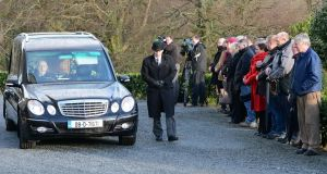 The funeral of Marie Fleming at the Church of the Holy Trinity, Castlemacadam , Co Wicklow, today.  Photograph: Eric Luke / The Irish Times