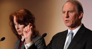 US diplomat Richard Haass with Harvard professor Meghan O'Sullivan, speaking to the media at Stormont Hotel in Belfast, where he is chairing negotiations dealing with contentious flags, parades and the region's troubled past. Photograph: Paul Faith/PA Wire