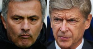 Chelsea Manager Jose Mourinho (L) and Arsenal Manager Arsene Wenger whose sides meet in a big Premier League clash at the Emirates Stadium.