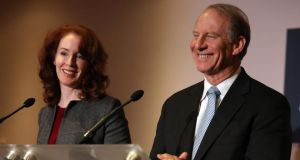 US diplomat Richard Haass and  Harvard professor Meghan O'Sullivan, speaking to the media at Stormont Hotel in Belfast on Friday. Photograph: Paul Faith/PA Wire
