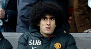 Manchester United's Marouane Fellaini  is out for a further six weeks. Photograph: Martin Rickett/PA Wire