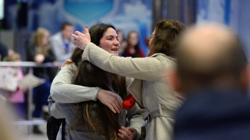 Arriving home for Christmas at Dublin Airport. Photograph: Dara Mac Donaill / The Irish Times