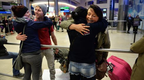 Yvonne and Leanne Fay, from Cavan welcome friends  Ciara Leddy and Terence Deary, home from Canada. Photograph: Dara Mac Donaill / The Irish Times