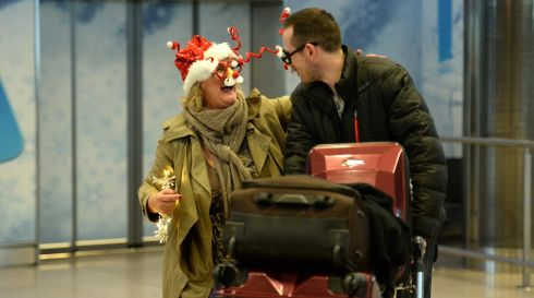 Barbara Connolly from Wicklow welcomes her daughter's boyfriend Rob Spillane, arriving for Christmas at Dublin Airport. Photograph: Dara Mac Donaill / The Irish Times