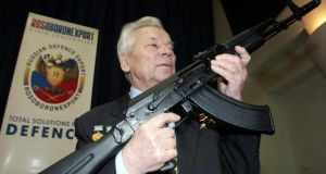 A 2006 photograph of Mikhail Kalashnikov, the designer of the assault rifle that has killed more people than any other firearm in the world, who died today aged 94. Photograph: Sergei Karpukhin/Files/Reuters.
