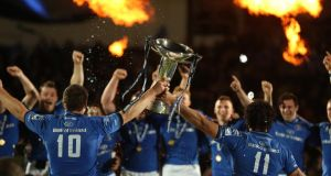 Leinster bade farewell to Joe Schmidt, Johnny Sexton and Isa Nacewa with an entertainingly won double of the Rabo Pro12 and the Amlin Challenge Cup, thereby winning their sixth major trophy in six seasons and the 12th for Irish rugby in eight seasons. Photograph: Billy Stickland/Inpho