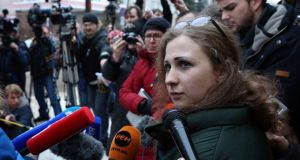 Maria Alyokhina, a member of Russian punk band Pussy Riot, speaks to the media yesterday after her release from a penal colony in Nizhny Novgorod. Photographs: Reuters