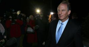 Dr Richard Haass and Harvard professor Meghan O'Sullivan, arrive at the Stormont Hotel in Belfast last night to meet the five executive parties involved in the current peace talks. Photograph: Paul Faith/PA Wire.