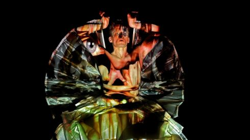 Choreographer and dancer Tero Saarinen in a performance of Stravinsky Evening, involving the projection of images on the performer at  the Dublin Dance Festival in May at the Abbey Theatre. Photograph: Eric Luke/The Irish Times