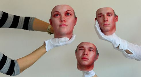"Reconstructed heads of three anonymous smokers by artist Heather Dewey-Hagbor for her piece ""Stranger Visions"" at the Science Gallery in Dublin in October. Photograph: Frank Miller/The Irish Times"