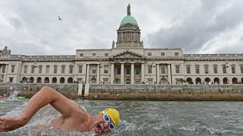 James Scallon, NAC Masters, passing the Custom House during the 94th Dublin City Liffey Swim supported by Dublin City Council and staged by the Open Sea Committee in August. Photograph: Dara Mac Dónaill/The Irish Times