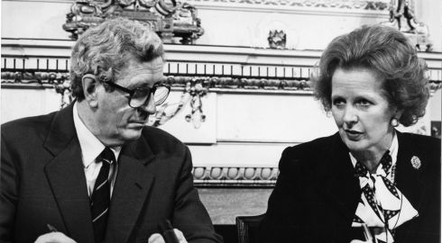 Late former taoiseach Dr Garret FitzGerald in November 1985 signing the Anglo-Irish Agreement with late former British prime minister Margaret Thatcher, who died in April 2013.  Photograph: Matt Kavanagh/The Irish Times