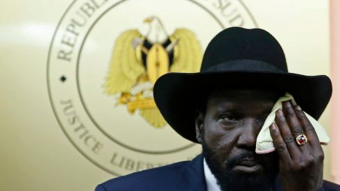 South Sudan's President Salva Kiir wipes his face during a news conference in Juba after an alleged coup. Photograph: Goran Tomasevic/Reuters