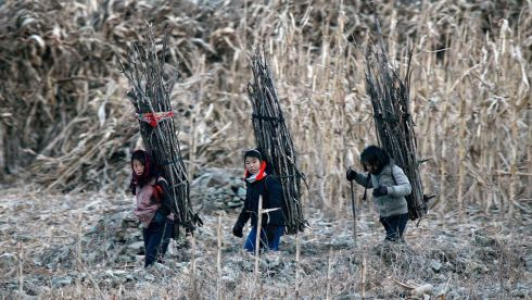 North Korean girls carry firewood on the banks of Yalu River, some 100km (62 miles) from the North Korean town of Sinuiju, opposite the Chinese border city of Dandong, in winter. Photograph: Jacky Chen/Reuters