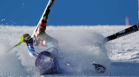 Tessa Worley of France crashes out during the Audi FIS Alpine Ski World Cup Women's Slalom in December. Photograph: Alexis Boichard/Agence Zoom/Getty Images