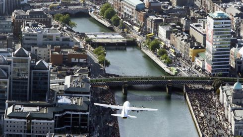 The Royal Airforce C130 pictured above Dublin as part of the IAA Flightfest.