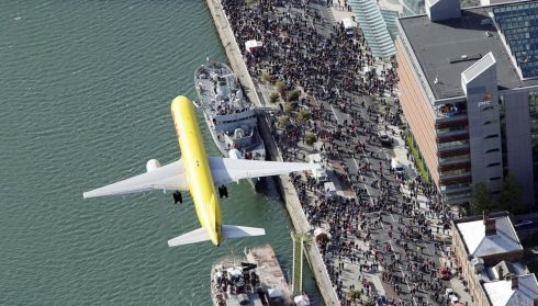 The DHL B757 pictured above Dublin as part of the IAA Flightfest.