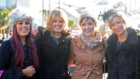 From left are Katie Murphy, Miriam Lowry, Siobhan Devlin and Aimee Molloy, all from Castleknock, at  the first day of racing at the Leopardstown Christmas Festival. Photograph:  Eric Luke/The Irish Times
