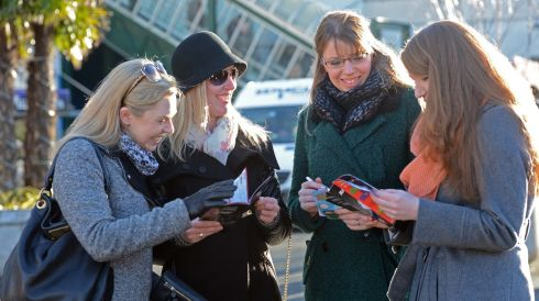 From left are sisters Danielle and Steph Hogan, with sisters Fiona and Vicki Collins, all from Rathfarnham, on the first day of racing at Leopardstown. Photograph:  Eric Luke/The Irish Times