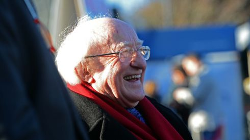 President Michael D Higgins at the first day of racing at the Leopardstown Christmas Festival. Photograph:  Eric Luke/The Irish Times
