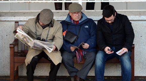 Getting set for a few bets at Leopardstown. Photograph:  Eric Luke/The Irish Times