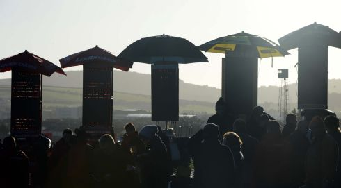 Sunshine and silhouettes on the first day of racing at Leopardstown Christmas Festival  2013. Photograph:  Eric Luke/The Irish Times