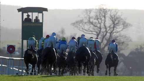 The Thorntons Recycling Maiden Hurdle on day one at Leopardstown. Photograph: Niall Carson/PA Wire.