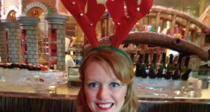 Helen Morrogh in festive spirit in the Atlantis Hotel on the Palm Jumeirah palm-shaped island in Dubai