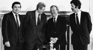 John Hume,  Garret FitzGerald, Charles Haughey and  Dick Spring meet in March 1983 to discuss the New Ireland Forum. Photograph: Peter Thursfield/The Irish Times