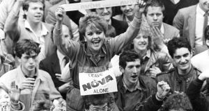 Fans outside the Radio Nova offices in Dublin in May 1983 as the station closed down. Photograph: Peter Thursfield/The Irish Times