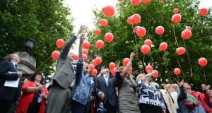 Supporters of the Turn Off the Red Light campaign at a demonstration outside Leinster House last year. Photograph: Cyril Byrne