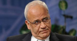 "Senior Palestinian negotiator Saeb Erekat:    ""Those who fear the ICC should stop committing war crimes, including the construction of settlements."" Photograph: Jonathan Ernst/Reuters"